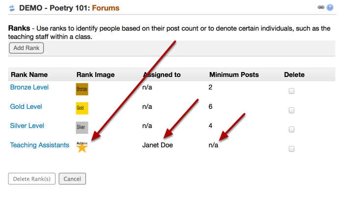 Option 2 (Admin) - Example of a Special Ranking