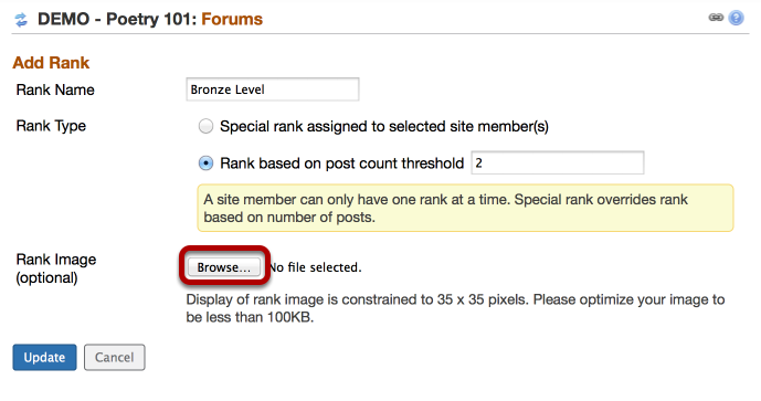 Option 1 (Student Ranking) - (Optional) - To add a badge to the ranking, click on the Rank Image Browse button.