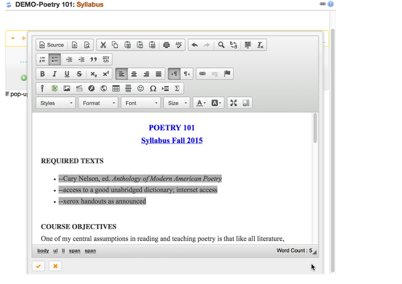 Optional: Use the rich text editor tools to edit / format the Syllabus.