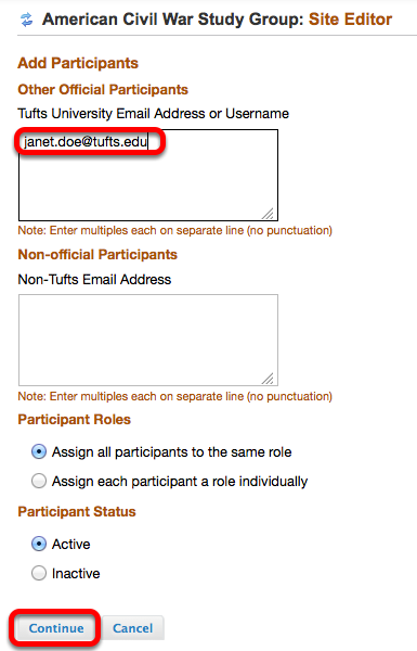 Enter the person's Tufts University e-mail address (or Tufts username) into the TOP box, then click Continue.