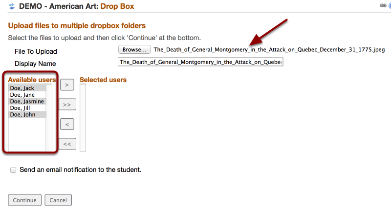 Hold down your CONTROL key and select multiple dropbox recipients from the Available Users box