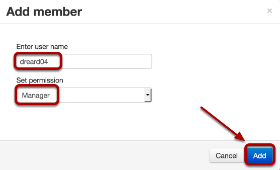"""Enter the username of the person you want to share management of the channel, use the dropdown box to select """"Manager"""", then click Add"""