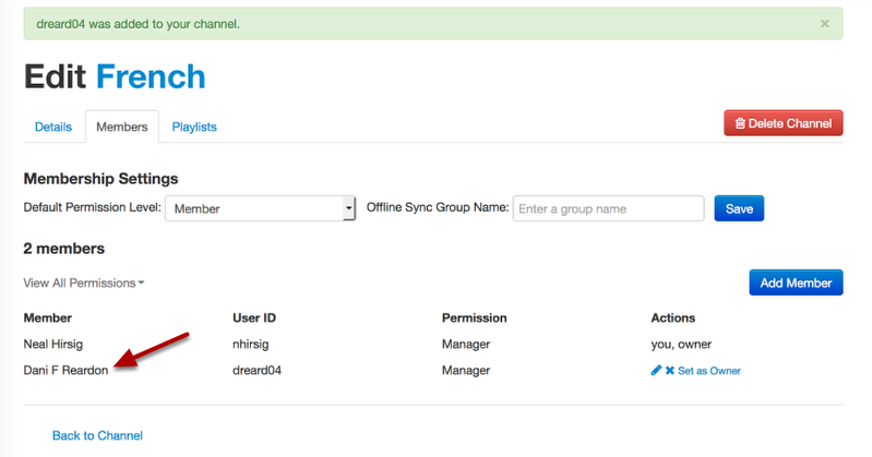 Example of members page after adding a new member: