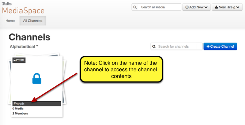 """Example of the newly created channel in MediaSpace """"Channels"""""""
