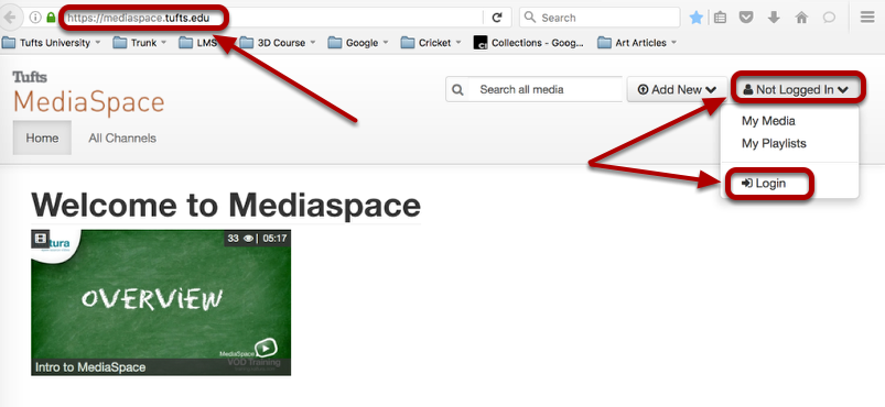 """Go to https://mediaspace.tufts.edu and click """"Not Logged In"""", then select """"Login"""""""