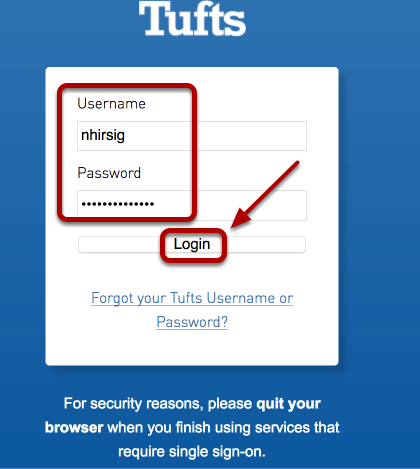 Enter your Tufts University username and password, then click login