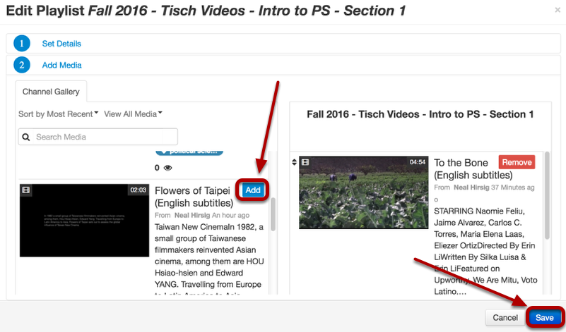 """Click the """"Add"""" button on the top right of each video you want to add to the playlist. When finished, click Save"""