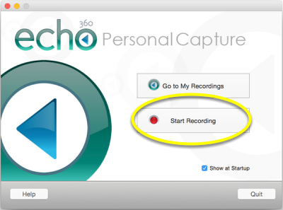 """Launch the Personal Capture application, and click """"Start Recording."""""""