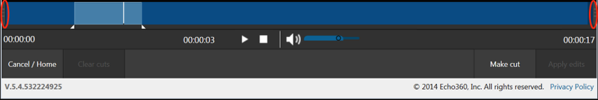 Drag the gray handles on either end of the timeline to trim the beginning and end of your recording.