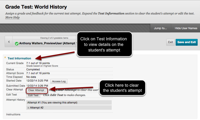 Image of the Test Information window witn instructions to click on Test Information to view details on the student's test attempt. Also, the Clear Attempt button is outlined with a red circle with instructions to click here to clear the student's attempt.