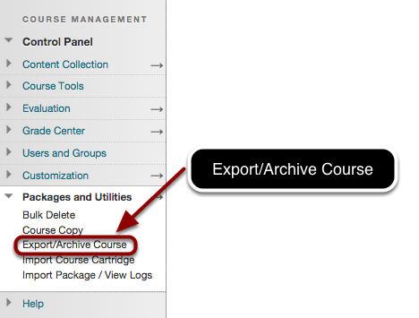 Step 1 - Choose Export/Archive from the Control Panel