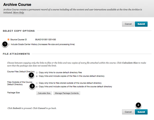 Step 3 - Select your Archive Course Options