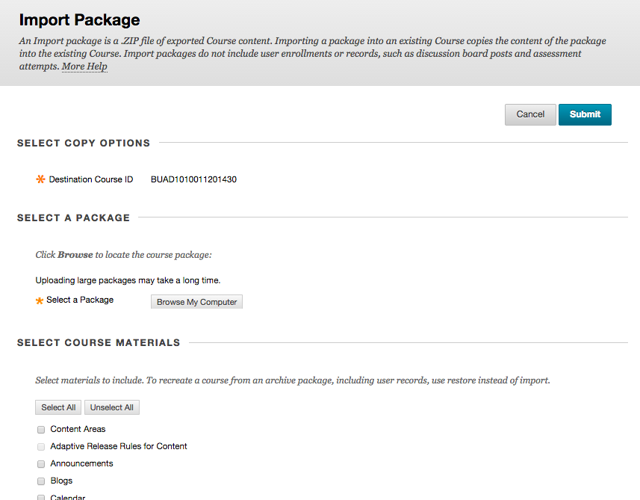 Step 3 - Import Package Screen