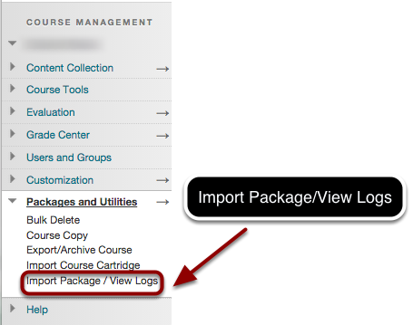 Step 1 - Viewing the Import Package / View Logs Screen