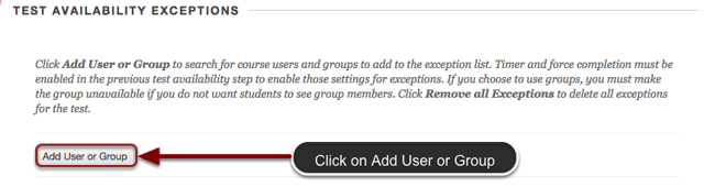 Image of Section 3: Test Availability Exceptions with the Add User or Group button highlighted, with instructions to click on Add User or Group
