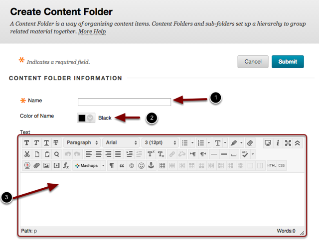 image of the content Folder Information with the following annotations: 1.Name: Enter the name of the folder here.2.Color of Name: Select the desired color for the folder link.3.Text: Enter a description for the folder in the text box.