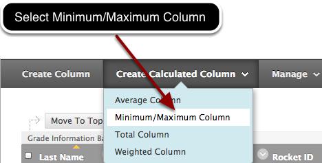 Step 1 - Select Minimum/Maximum Column