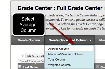 Step 1 - Select Average Column