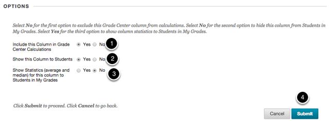 Step 2c - Set the column Options settings.