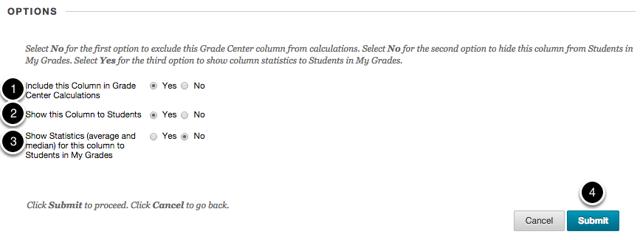 Step 2c - Set the column Options settings