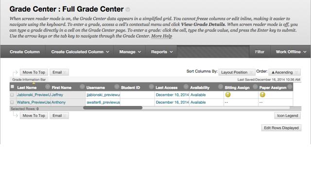 Access the Full Grade Center