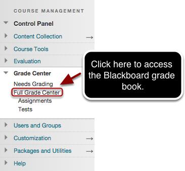 Step 1 - Accessing the Grade Center (grade book)