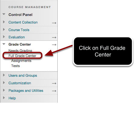 Accessing the Full Grade Center