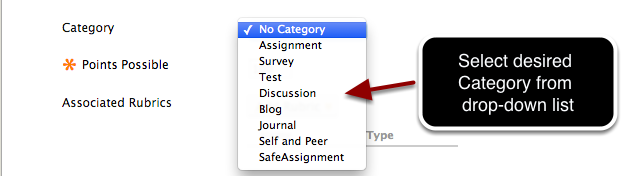 Step 3c - Select the desired Category