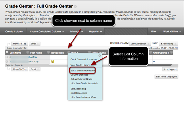 Step 3 - Assigning a Category to a Grade Center Column