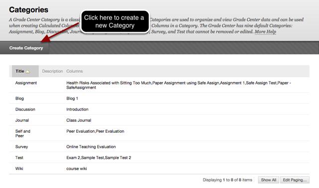 Step 2a - Click Create Categories