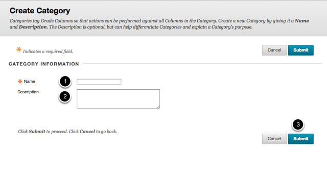 Step 2b - Fill in Create Category Options