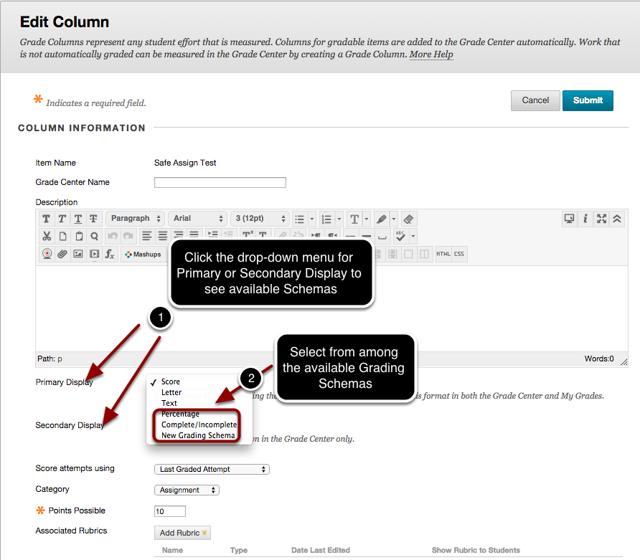 Step 5a - Choose Grade Schema on Edit Column Page