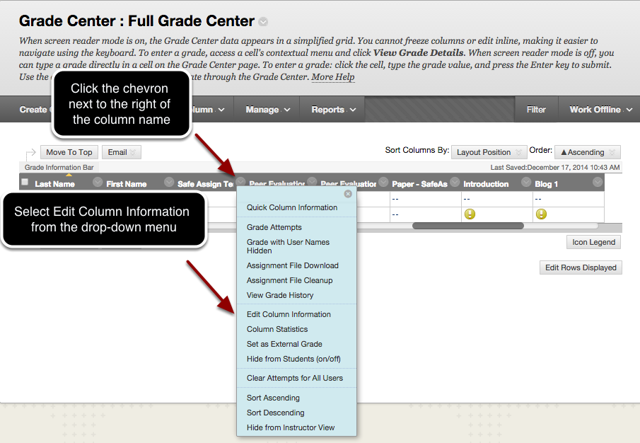 Step 5 - Applying a Grading Schema to an Existing (or New) Grade Column
