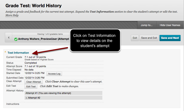 Image of the Test Information window witn instructions to click on Test Information to view details on the student's test attempt.