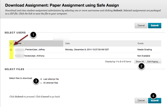 Image of the Download Assignment screen with the following annotations: 1.Check the boxes next to the names of the students whose submissions you want to download. To select all students on the page, check the checkbox at the top of the page. 2.To see all students, click the Show All button at the bottom of the screen.3.Select Files: Choose either to download the last attempt file or all attempt files.4.When finished, click the Submit button.