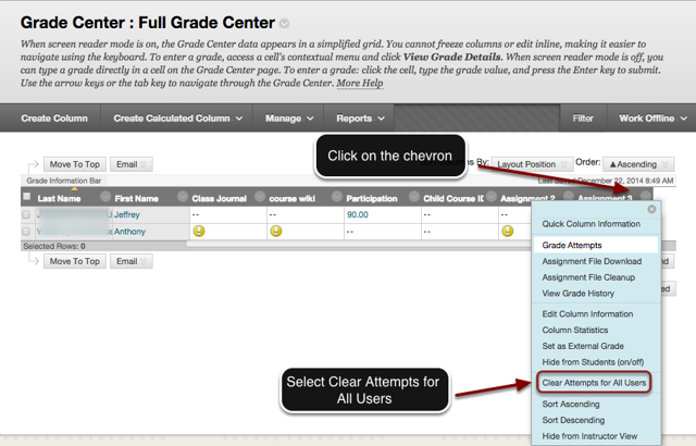 Image of the Full Grade Center with an arrow pointing to the chevron in the column header with instructions to click on the chevron header. A menu is shown on screen with the Clear Attempts for All Users button outlined in a red circle with an arrow pointing to it.  Instructions indicate to select Clear Attempts for  All Users.