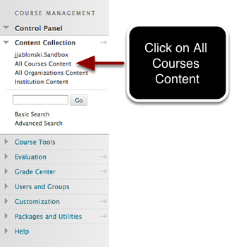 Step 1 - Select All Courses Content