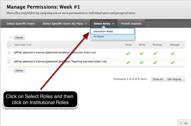 Step 3 - Select Institutional Roles