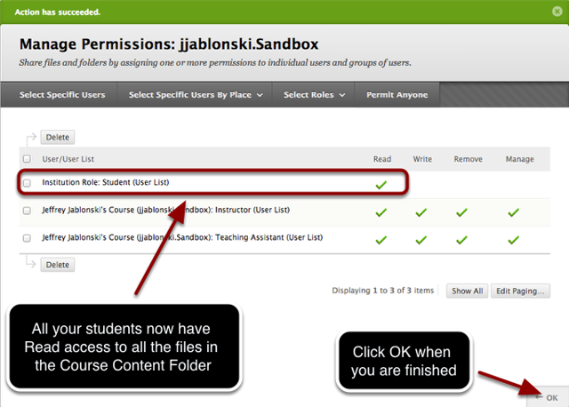 Step 5 - Confirmation and viewing the newly added Permission for Student Read access