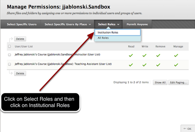 Step 3- Select Institutional Roles