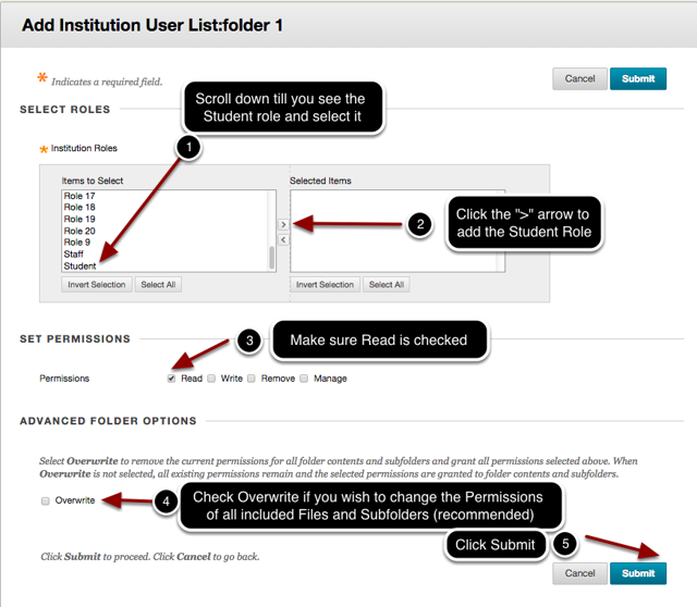 Step 4 - Select the Student role and Set Permissions