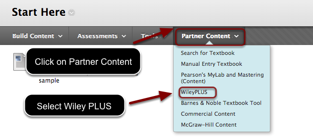 Image of the content area menu with an arrow pointing to the partner content button with instructions to click on Partner Content. In the Menu, Wiley Plus is highlighted by a red circle with instructions to select Wiley Plus