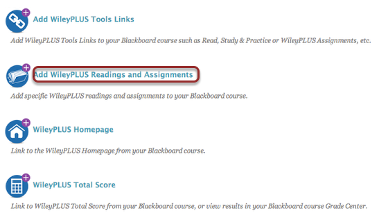 Image of the Wiley Plus Tools screen with Add Wiley Plus Readings and Assignments outlined with a red circle