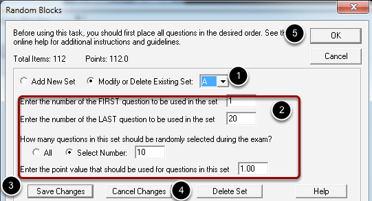 Modifying or deleting question sets