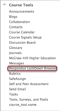Accessing Course Tools