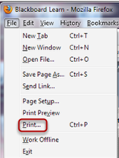 Image of the File menu with Print outlined in a red circle