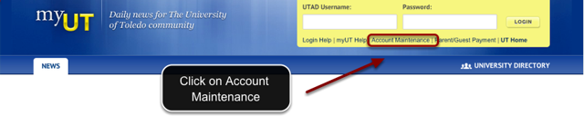 Image of the MyUT login page, with account maintenance outlined with a red circle with instructions to click on account maintenance.