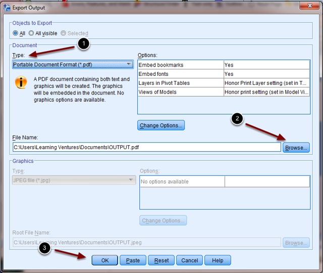 Image of the Export Output dialog box with the following annotations: 1.Use the dropdown menu to select the format to export the data.2.Click the Browse button to select the folder you would like to save the file to.3.Click OK to export the file. When the export process is complete, you can go to the folder and view the file.