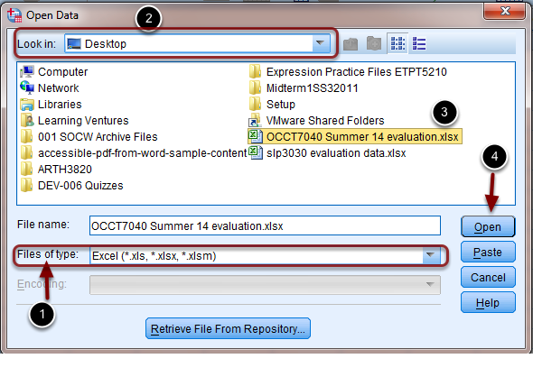 """Image of the Open file dialog box with the following annotations: 1.Files of Type: Use the drop down menu to the set the """"Files of Type"""" to Excel2.Look in: Select the location on your computer that contains the Excel data e.g. Desktop or Documents.3.Locate the file you wish to use and select that File. 4.Click Open to open the selected file."""