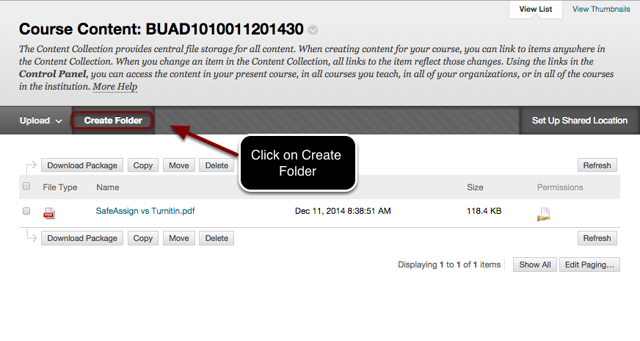 Image of the Course Content page with the Create Folder button outlined in a red circle with an arrow pointing to it with instructions to click on Create Folder.